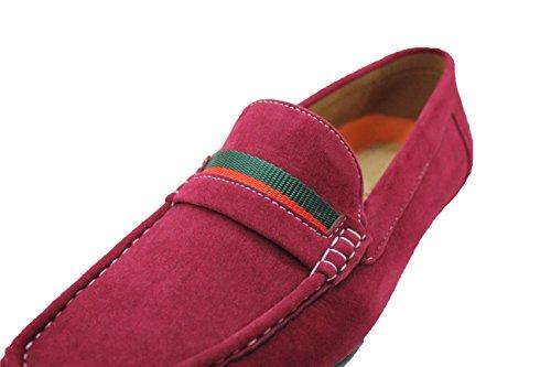 Mocassini uomo slip on casual rosso scamosciati scarpe estive man's shoes