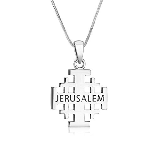 Genuine 925 Sterling Silver Chain Necklace with Jerusalem Cross Pendant Charm, 18 Inch Box Chain, by Marina Jewelry (Silver Sterling Marine Cross)