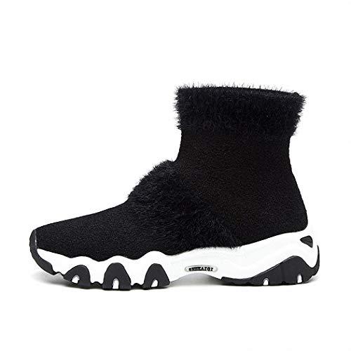 Casuales negro Cómodo Invierno Botas Señoras Lucdespo Deportivos Cortas Otoño Colegio Calcetines Botas Calcetines Punto Zapatos Inferior Calcetines Cómodo Zapatos de Deportes Suéter q1PPE