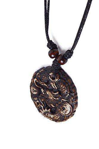 Cord Necklace Bone Imitation Carved Dragon Medallion Pendant Men & Women Unisex (Beige, White, - Cord Carved Dragon