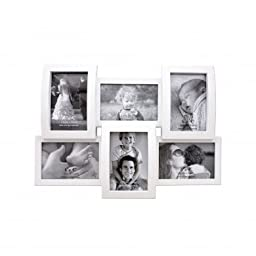 6 Opening White Photo Collage Frame Flat & Curved Holds 4x6 Photos