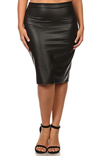 Bubble B Women's Plus Size Faux Leather Fitted Knee Length Midi Skirt Black 1X
