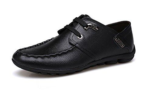 Nr. 66 Town Heren Leren Casual Schoenen Lace-up Loafers Zwart