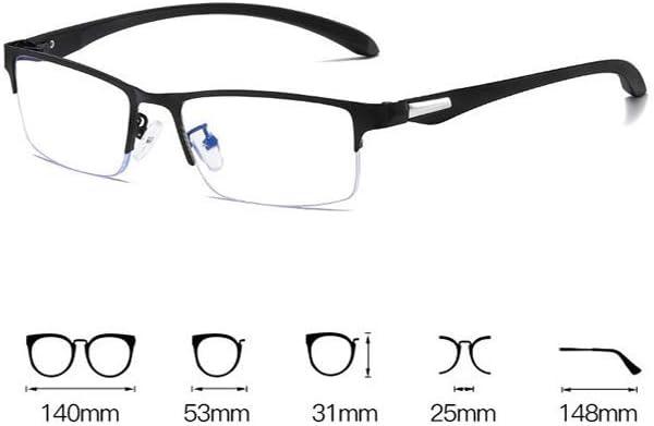 -100, Blu Occhiali da Distanza miope Occhiali per Miopia Mezza-Montatura Occhiali da Vista Miopia con Diottrie da 1.0 a 6.0 per Uomo e Donna