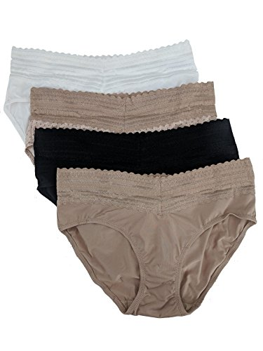 Warner's Womens No Pinches No Problems Hipster Panty 4-Pack, Large, White/Beige Hive Pattern/Black/Beige