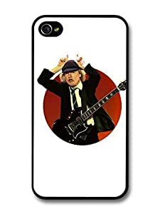 Accessories ACDC Angus Young Illustration with Guitar Showing Horns case For Apple Iphone 5/5S Case Cover