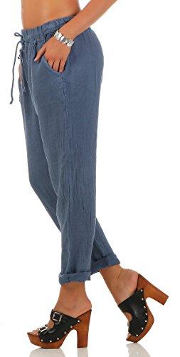Femme Taille Loisirs Lin Bleu Avec De En Malito Élastique Pantalon 6816 Hq67wzSxS