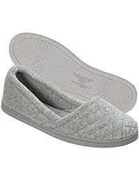 Dearfoams - Zapatillas de Terciopelo para Mujer en Interiores y Exteriores, cómodas, Lavables a máquina, Acolchadas con diseño Acolchado, Color Negro
