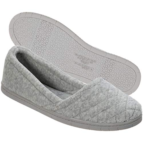 Dearfoams Indoor/Outdoor Women's Velour Slipper - Comfortable, Machine Washable, Cushioned Slippers With Quilted Design, Light Heather Grey
