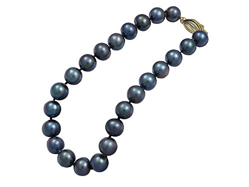 Pearl Fish Cultured Bracelets (Black Freshwater Cultured Pearl Bracelet AA 8mm Black Freshwater Bracelets For Women Great Gift)