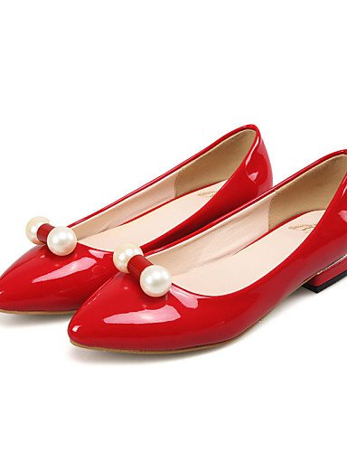 y 5 eu38 negro 5 PDX casual almendra vestido us7 mujer rojo plano zapatos red blanco carrera de charol de cn38 talón Toe Flats uk5 punta oficina wBSwPq