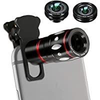 Phone Lens, 4 in 1 Cell Phone Camera Lens Kits with 10X...