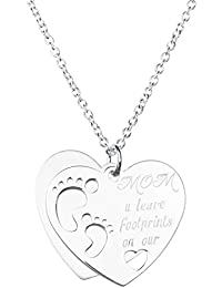 """Sterling Silver Love Mom U Leave Footprint On Our Heart Dangle Pendant Rolo Chain Necklace, 16"""""""