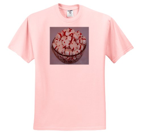(Rebecca Anne Grant Photography Foods - Peppermint Candy Dish - T-Shirts - Adult Light-Pink-T-Shirt Small (ts_14139_34))