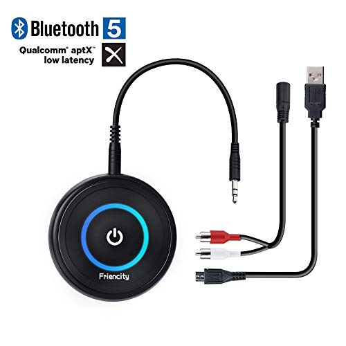 Friencity Bluetooth V5.0 Audio Transmitter Receiver with aptX Low Latency, 2-in-1 Wireless Bluetooth Adapter with 3.5mm/2.5mm RCA Audio Cable for TV, Home Stereo, MP3, CD Player, PC, Car Speaker