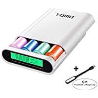 Authentic TOMO S4 3-IN-1 Portable 18650 Battery Charger & Dual USB Ports DIY Power Bank with Digital LCD Display for iPhone, iPad, Samsung & More + Flexible USB LED Light Lamp Free Gift