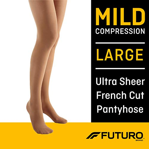 Futuro Energizing Ultra Sheer Pantyhose for Women, Mild Compression, French Cut, Large, Nude