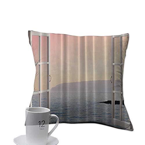 Serra Design Island - Home Sofa Cushion Cover Pillowcase Gift Ocean Decor Waterfront Coastal,View Panorama Panoramic View Decor Blue Ocean Ombre Pink Sky Sunset Mountains Art Island White Rustic 18