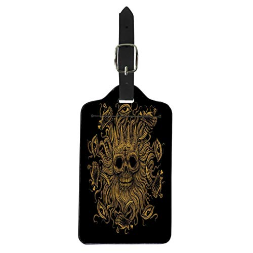 Semtomn Luggage Tag the Head of Dead King Octopus Skull Eyes Hands Suitcase Baggage Label Travel Tag Labels -