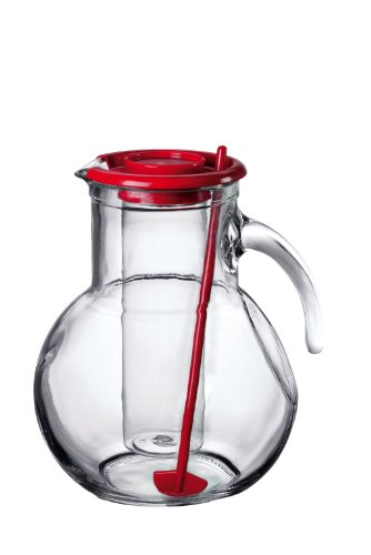 Bormioli Rocco Kufra Jug with Ice Container, Red Lid, 72 3/4 Ounce