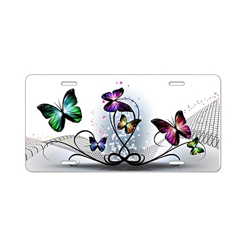 CafePress Colorful Butterflies Aluminum License