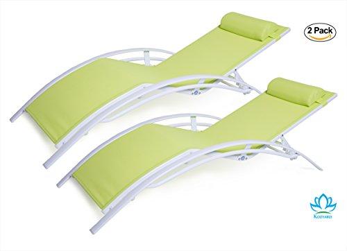 Kozyard kozylounge elegant patio reclining adjustable for Chaise aluminium textilene