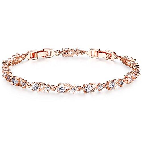 BAMOER Mujer Pulsera Oro Rosado K Rose Gold Plated Chain Bracelet Women