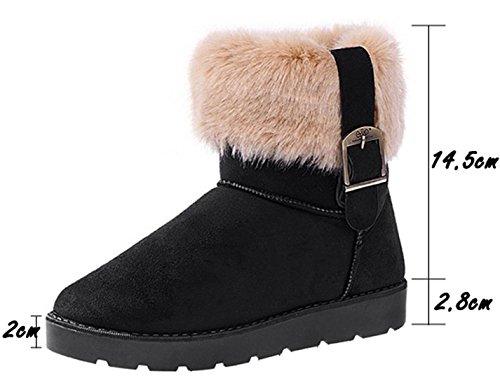 Femmes Chaudes De Zeagoo Chaussures Noir Fourrure Synthtique Bottines Plates Neige D'hiver 7a4qdw