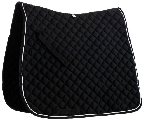 Roma Quilted Dressage Saddle Pad - Black/white Piping, Full