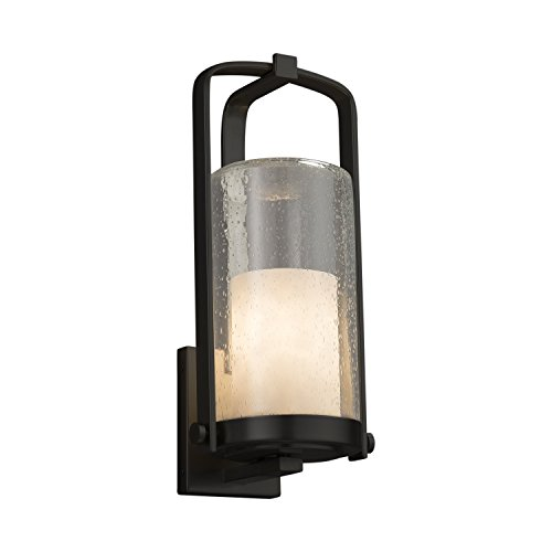 (Clouds - Atlantic Large Outdoor Wall Sconce - Cylinder with Flat Rim Clouds Shade - Matte Black Finish)