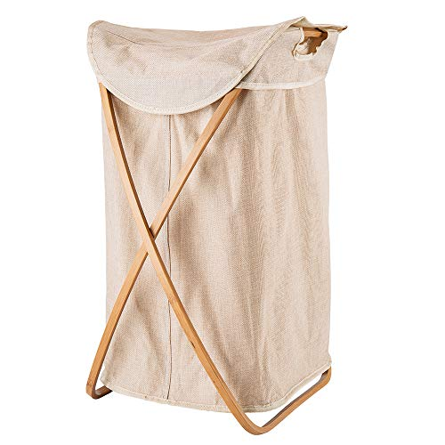 Hosroome Bamboo Laundry Hamper with Lid Laundry Baskets with Handles Waterproof Foldable Hamper Easily Transport Laundry,Beige