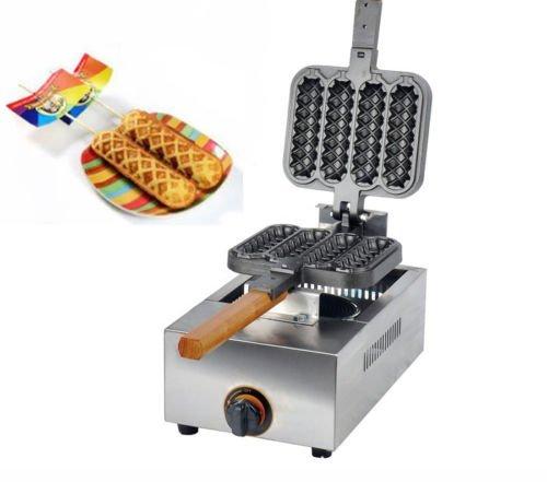 FY-114R 4 Pcs/time Commercial Non-stick LPG Gas Lolly Waffle Maker 13.5 x 4cm Baking Machine 2800 Pa