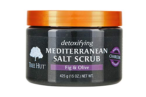 Tree Hut Detoxifying Mediterranean Salt Scrub Fig & Olive, 15oz, Ultra Hydrating and Exfoliating Scrub for Nourishing Essential Body Care