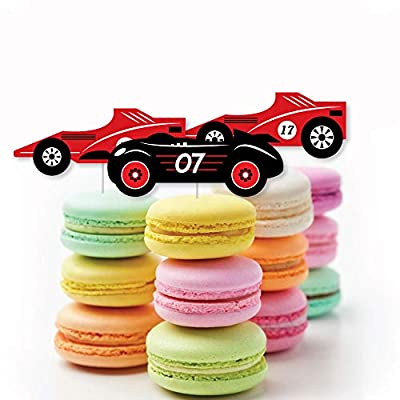 Let's Go Racing - Racecar - Dessert Cupcake Toppers - Race Car Birthday Party or Baby Shower Clear Treat Picks - Set of 24: Toys & Games