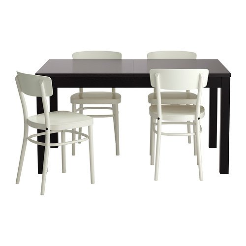Ikea Table and 4 chairs, black-brown, white 142020.1182.2226
