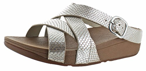 Fitflop Il Magro Sandali Da Donna In Criss Cross In Pelle Color Argento
