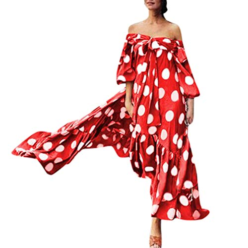 Mysky Fashion Women Popular Tube Top Classic Polka Dot Puff Sleeve Ruffle Hem Bohemian Loose Bowknot Long Dress Red -