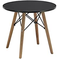 Duhome 20' Round Coffee Table MDF Top Wooden Leg Stylish Eames Style Space Saving Side Table (Black)