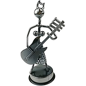 Vintage Creative Iron Art Metal Nuts Steel Music Girl Figure Performer Ornament Artwork Home Office Decor (Electric Guitar)