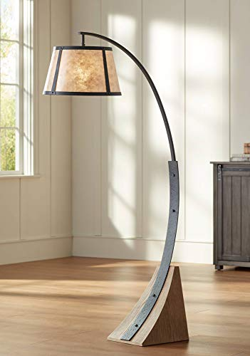 Oak River Gray And Blond Mica Arc Floor Lamp Franklin