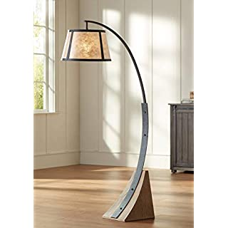Oak River Rustic Mission Arc Floor Lamp Dark Gray Wood Base Mica Shade for Living Room Reading Bedroom Office - Franklin Iron Works