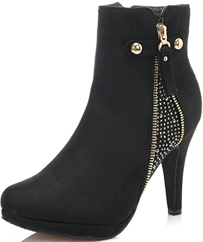 Dream Pair Women's Cecile Chic Detailed Rhinestone Stud Embellishment Platform High Heel Shoes Booties BLACK-SZ-7.5