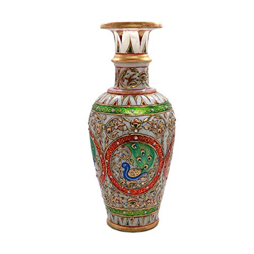 (Taj Gallery Roll Over Image to Zoom in Handicrafts Paradise Peacock Motif Marble Flower Vase 12 inch)