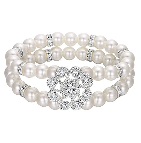 2 Row Stretch Bracelet - EVER FAITH Women's Crystal Simulated Pearl Bridal Flower Wave 2-Rows Stretch Bracelet Clear Silver-Tone