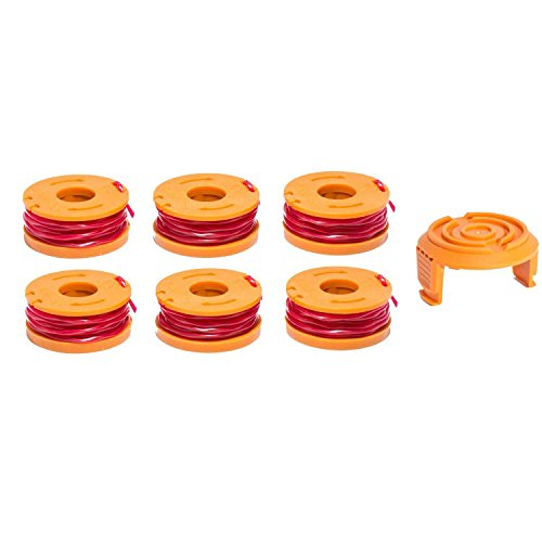 LBK INTERNATIONAL LBK 6-Pack Replacement 10-Foot Grass Trimmer/Edger Spool Line and 1-Pack Cap, Compatible Model WORX WA0010 & 50006531 by LBK INTERNATIONAL