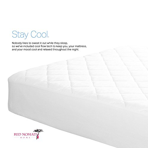 Bamboo Hypoallergenic Mattress Protector by Red Nomad Breathable Cool Cycle technologies for max Circulation ease Twin XL Size