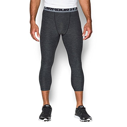Under Armour Men's HeatGear Armour Twist ¾ Compression Leggings, Black/Steel, Small