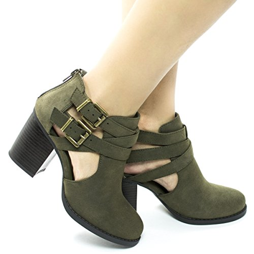 Dispu Block Cut Heel Side Toe Buckle Stacked Ankle Out Bootie Dual Khaki Round BRxY7qwTx