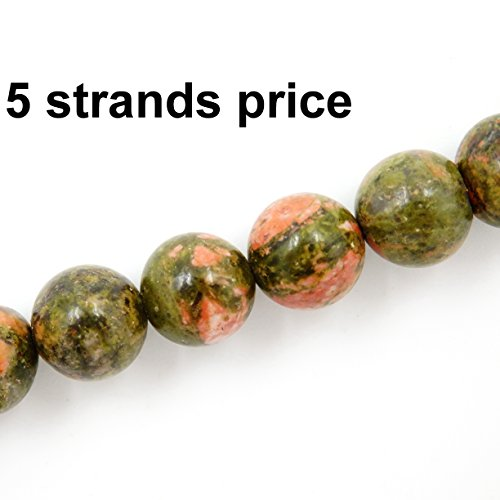 Malahill Gemstone Beads for Jewelry Making, Sold per Bag 5 Strands Inside, Unikate 8mm