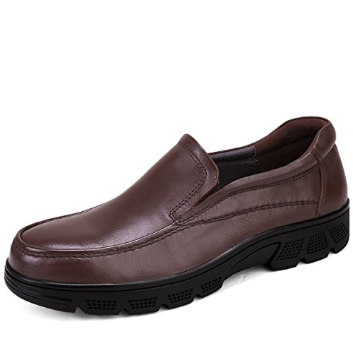 GRRONG Zapatos De Cuero Del Ocio Del Cuero Genuino De Los Hombres De Negocios Y Transpirable Negro Brown